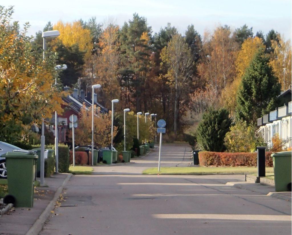 Sopkärl och brevlådor i villaområde.