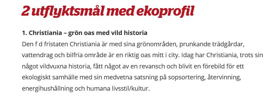 Artikel om utflyktsmål med ekoprofil i Köpenhamn