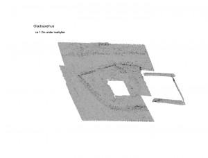 Förmodad grundmur detekterad ca 1.2 m i projektet Nya metoder detektering av arkeologiska lämningar