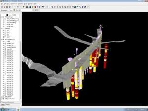 3D-visualisering av borrkärnor och bergnivå, Helsingborg