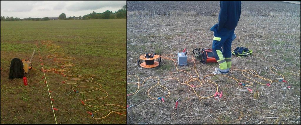 Detaljerad resistivitetsmätning på ett öppet fält under sommaren.