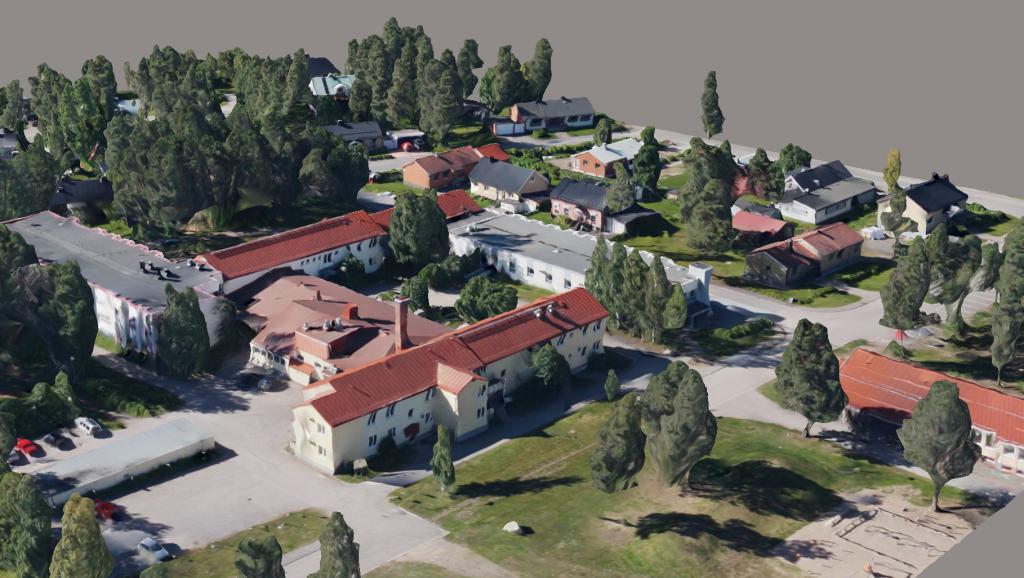 Gällivare Stad från en 3D-modell som är fotogrammetriskt framtagen.