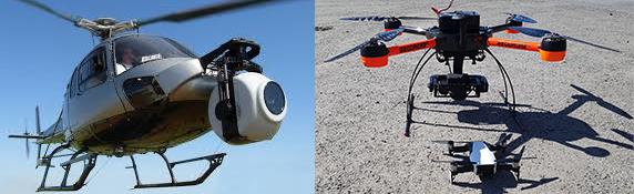 Storleksskillnaden mellan en helikopter med ett stort kamerasystem monterad och drönare som används för att ta fram underlag för visualiseringar.