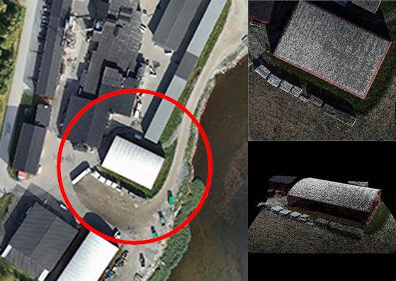 Ortofoto på industriområde jämfört med punktmoln och 3D-modell som skapats från drönarflygning för visualisering.