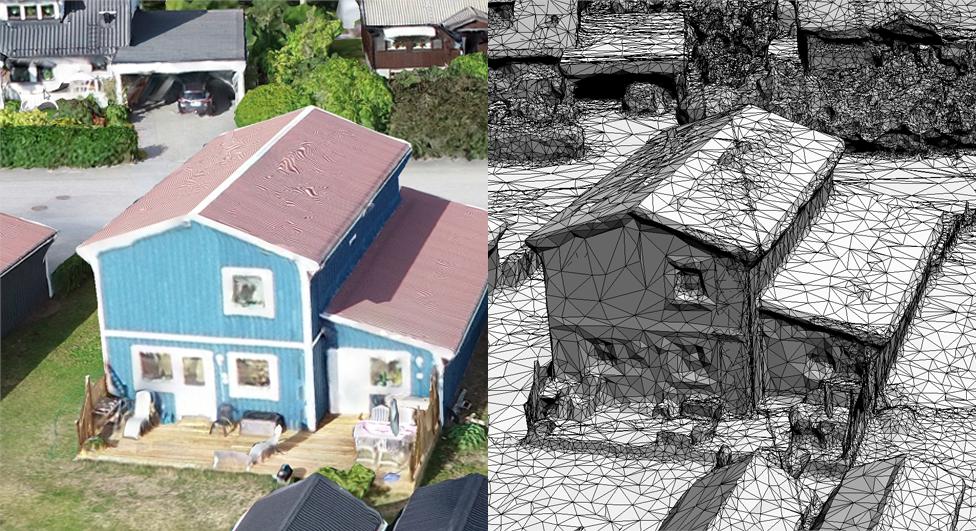 Bild visar fotogrammetriskt framtagen 3D-modell från TYREngine som jämför visualisering med och utan textur.