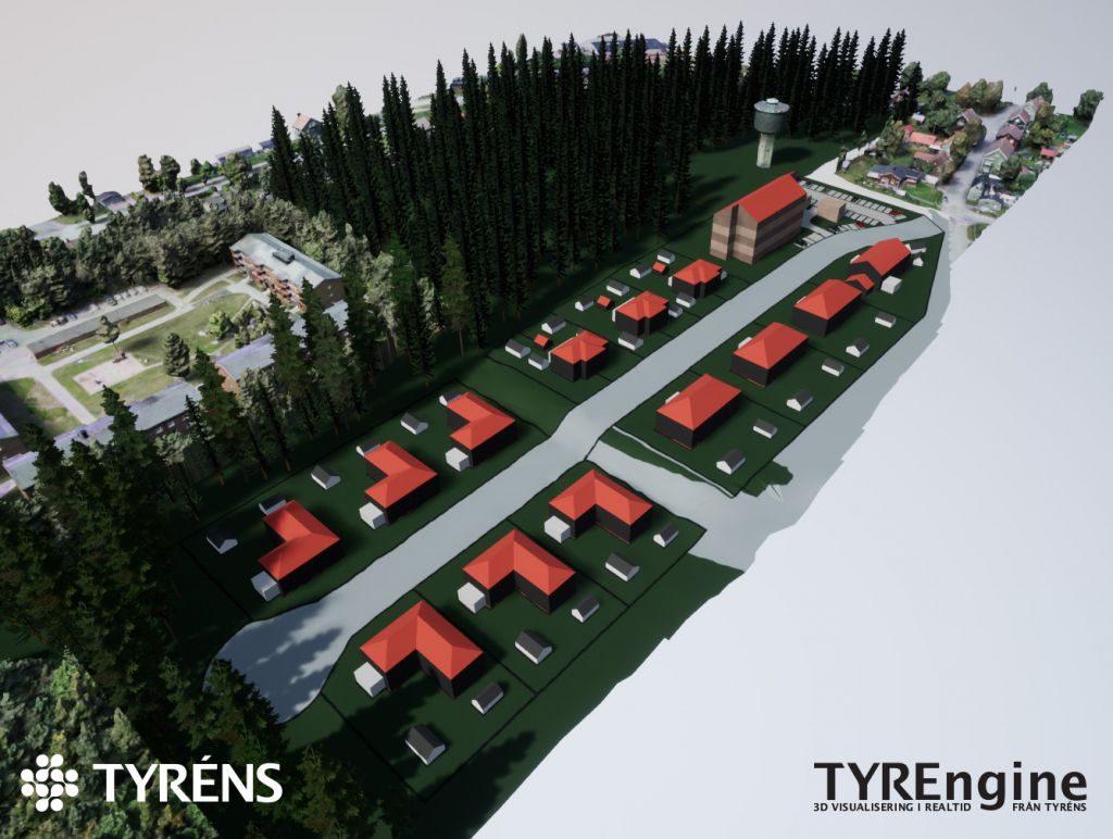 3D-bild av ett kommande exploateringsområde mellan skog och villaområde.
